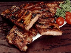 Close up of a rack of ribs